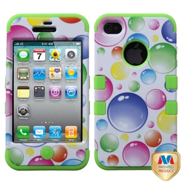INSTEN Rainbow Bubbles/ Green TUFF Hybrid Cover for Apple iPhone 4/ 4S