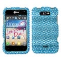 MYBAT Blue/ White Dots Diamante Protector Cover for LG MS770 Motion 4G