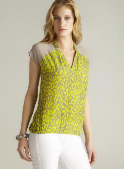 Romeo & Juliet Couture Sheer Shoulder Neon Leopard Print Top
