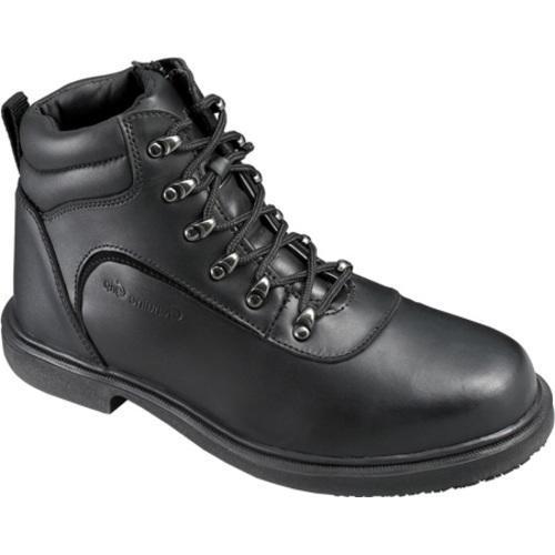 Men's Genuine Grip Footwear Slip-Resistant Steel Toe Boot Black Leather