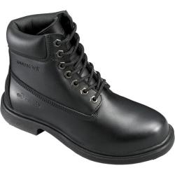 Men's Genuine Grip Footwear Slip-Resistant Waterproof Steel Toe Boot Black Leather