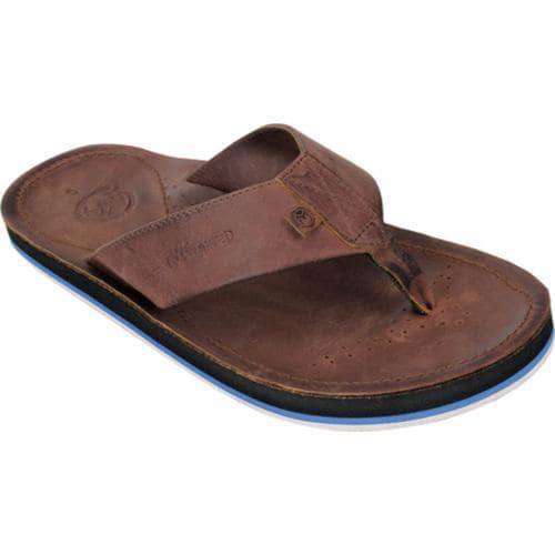 Men's Ocean Minded by Crocs Scorpion Leather Flip-Flop Espresso/Black
