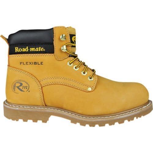 Men's Roadmate Boot Co. 647 6in Padded Collar Work Boot Steel Toe Honey Nubuck