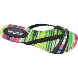 Women's Tidewater Sandals Low Wedge Green/Pink/Black