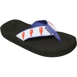 Children's Tidewater Sandals Seersucker Lobster Blue/White/Orange