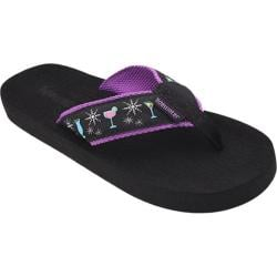 Women's Tidewater Sandals Sparkling Happy Hour Black/Pink/Yellow