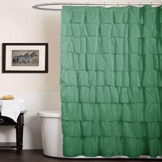 Lush Decor Green Ruffles Shower Curtain