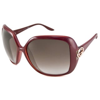 Gucci Women's GG3167 Rectangular Burgundy Sunglasses