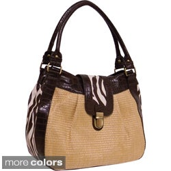 Bueno Women's 'Shenzi' Straw and Animal Print Bag
