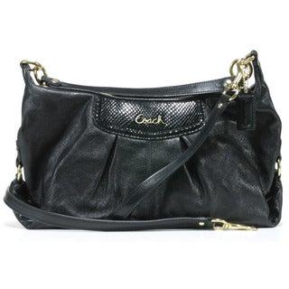 Coach 'Ashley' Black Leather Convertible Hobo Bag