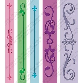 Cuttlebug Embossing Folder Border Set 5/Pkg-Iron Works