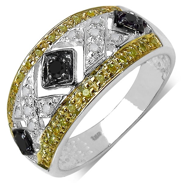 Sterling Silver 1/4ct TDW Black, White and Yellow Diamond Ring (I-J, I3)