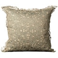 Nourison Mina Victory Light Green Crochet Floral Laced Decorative Pillow