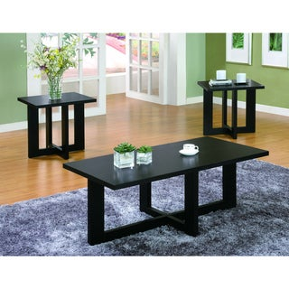 Black Veneer Coffee Table and End Tables 3-piece Set