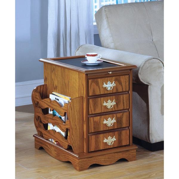 Oak Magazine Cabinet with Storage