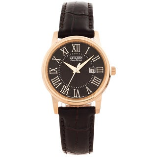Citizen Women's 'Roman Numeral' Leather Strap Watch