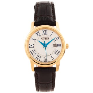 Citizen Women's 'Eco-Drive' Leather Strap Date Watch