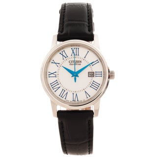 Citizen Women's 'Eco-Drive' Black Leather Strap Watch