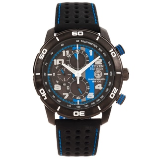 Citizen Men's 'Eco-Drive' Primo Black/ Blue Chronograph Watch