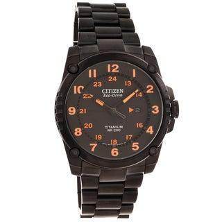 Citizen Men's 'Eco-Drive' Super Titanium Black/ Orange Watch