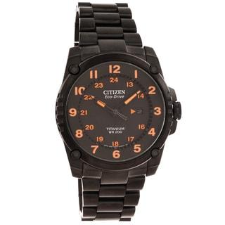 Citizen Men's 'Eco-Drive' Super Titanium Black/ Orange Watch