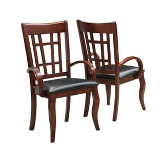 Dark Cherry and Leatherette Armchairs (Set of 2)
