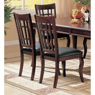 Dark Cherry and Leatherette Side Chairs (Set of 2)