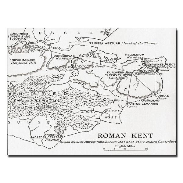'Map of Roman Kent, England' Canvas Art