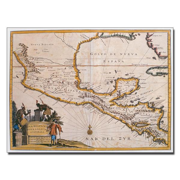 'Map of New Spain, 1625' Canvas Art