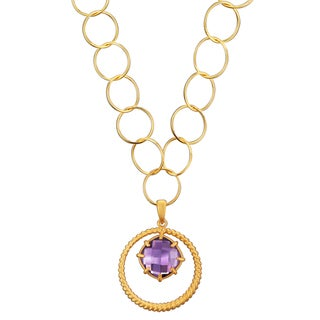 Collette Z Rose-plated Silver Created Purple Quartz Round Link Necklace