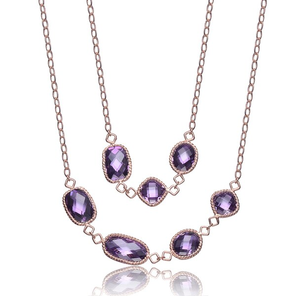 Collette Z Rose-plated Sterling Silver Purple Cubic Zirconia Necklace