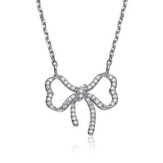 Collette Z Sterling Silver Cubic Zirconia Pave Bowtie Necklace