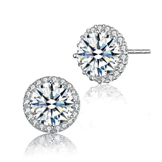 Collette Z Rose-plated or Sterling Silver Cubic Zirconia Round Earrings