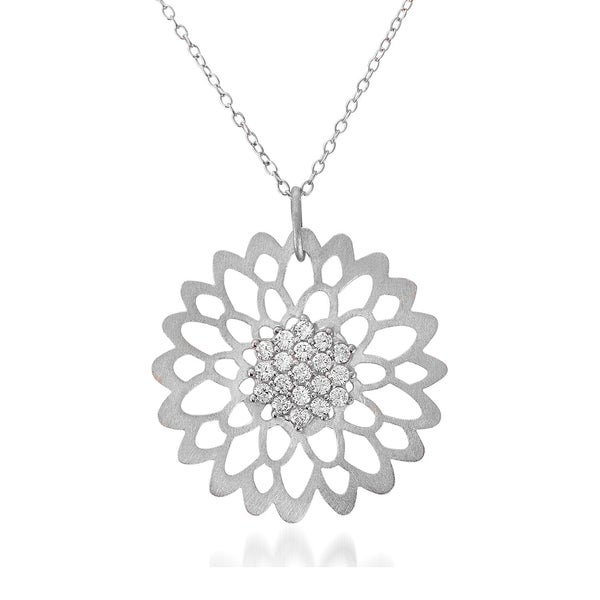 Collette Z Sterling Silver Matte Flower Lace Necklace