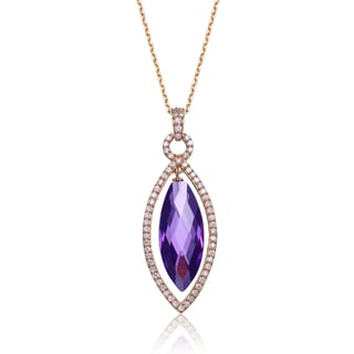 Collette Z Rose-plated Sterling Silver Pear-cut Purple Cubic Zirconia Necklace