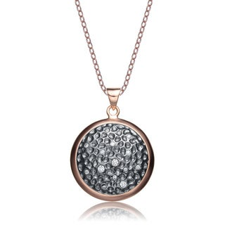 Collette Z Rose or Gold-plated Silver Cubic Zirconia Round Necklace