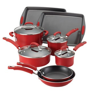 Rachael Ray Porcelain II Red Gradient Nonstick 12-piece Set