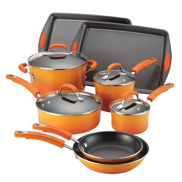 Rachael Ray Porcelain II Orange Gradient Nonstick 12-piece Set **With $20 Mail-in Rebate**