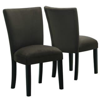 Parson Style Chocolate Brown Microfiber Dining Chairs (Set of 2)