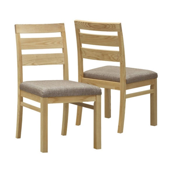Natural Oak Veneer Padded Dining Chairs (Set of 2)