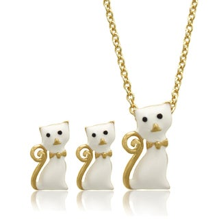 Molly and Emma 18k Gold Overlay Children's Enamel Cat Jewelry Set