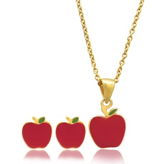 Molly and Emma 18k Gold Overlay Children's Enamel Apple Jewelry Set