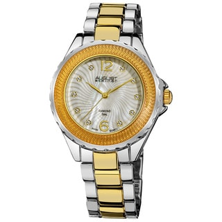 August Steiner Women's Genuine Diamond Mother of Pearl Bracelet Watch with Silver- and Gold-Tone Fin