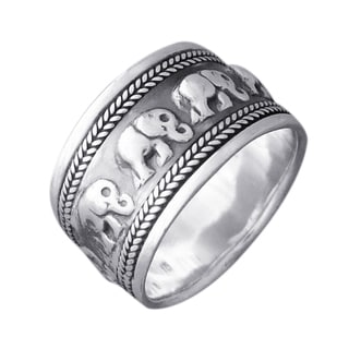 Sterling Silver Elephant Caravan Around Oxidize Ring (Thailand)