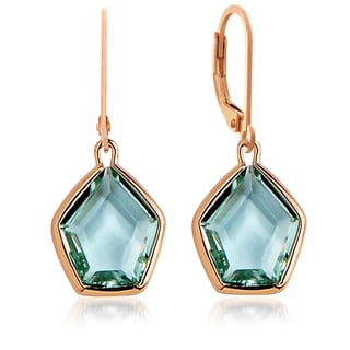 Collette Z Roseplated Sterling Silver Green Quartz Pentagon Shape Earrings