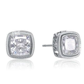 Collette Z Sterling Silver Cubic Zirconia Square Stud Style Earrings