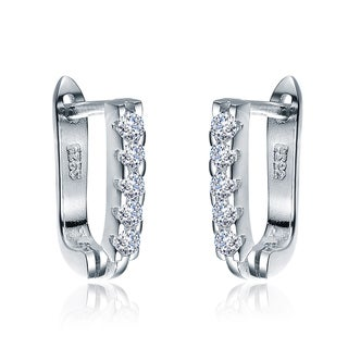 Collette Z Sterling Silver Cubic Zirconia Huggie Earrings