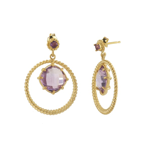 Collette Z Rose-plated Sterling Silver Purple Gem Quartz Round Drop Earrings 11021069