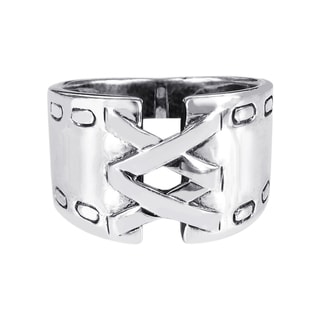 Sterling Silver Unique Foxy Wide Corset Ring (Thailand)