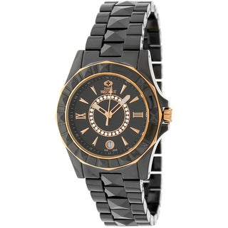 Swiss Precimax Women's 'Fiora' Black Ceramic Water-Resistant Swiss Quartz Watch